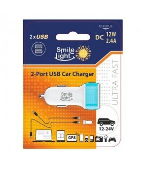 Automašīnas USB lādētājs A / M 12V 2.4A Smile Light