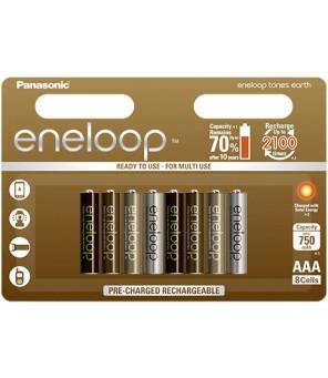 Panasonic Eneloop Tones Earth R03 AAA 800mAh uzlādējamās baterijas. 8gab