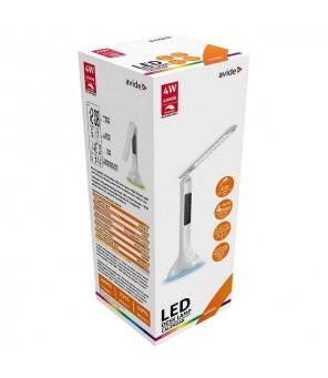 Uzlādējams darbvirsmas regulējams LED gaismeklis ar displeju, balts