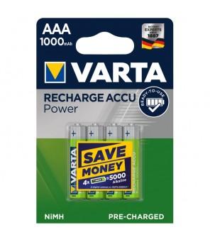 """AAA uzlādējamās baterijas """"Longlife Accu AAA 1000 mAh"""" (4 gab.) VARTA 5703"""