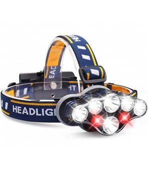LED lukturītis uz galvas 7 LED ar sarkanu gaismu