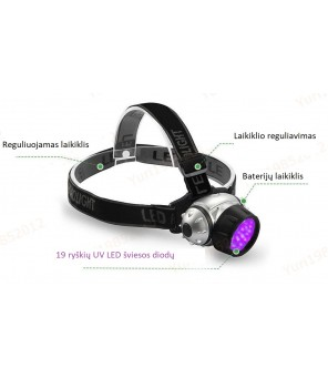 Ultravioletinis prožektorius ant galvos 19LED