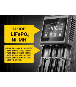 Universalus įkroviklis cilindriniams Li-ion ir Ni-MH akumuliatoriams everActive UC-4000